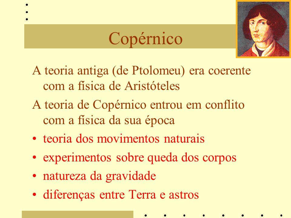 A teoria antiga (de Ptolomeu) era coerente com a física de Aristóteles A teoria de Copérnico entrou em conflito com a física da sua época teoria dos movimentos naturais experimentos sobre queda dos corpos natureza da gravidade diferenças entre Terra e astros