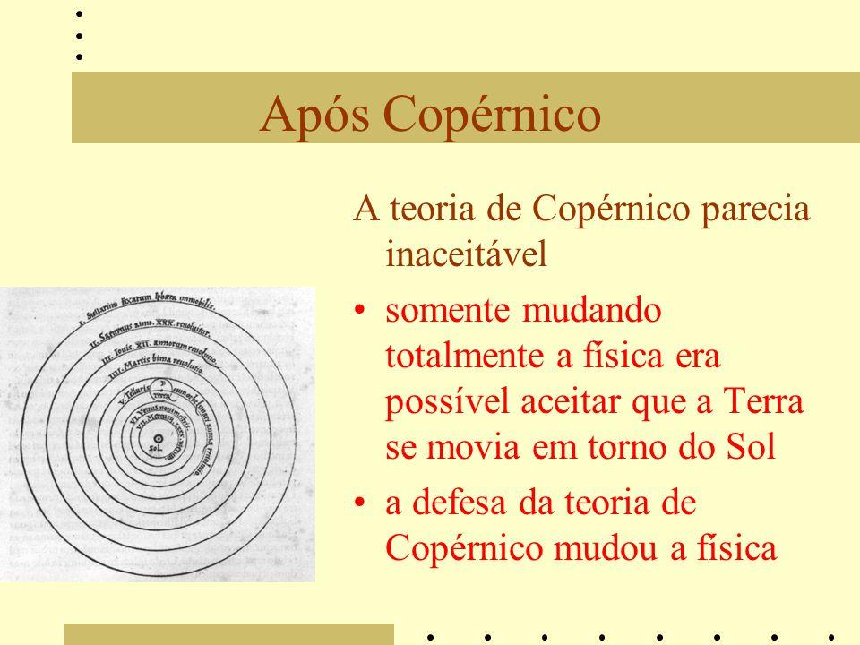 Após Copérnico A teoria de Copérnico parecia inaceitável somente mudando totalmente a física era possível aceitar que a Terra se movia em torno do Sol a defesa da teoria de Copérnico mudou a física