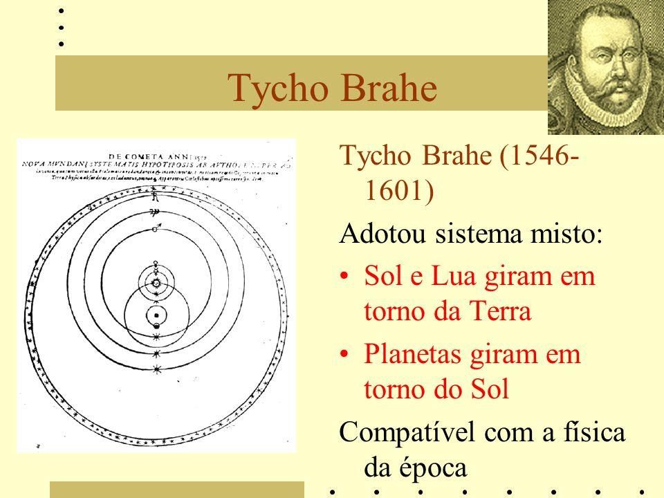 Tycho Brahe Tycho Brahe (1546- 1601) Adotou sistema misto: Sol e Lua giram em torno da Terra Planetas giram em torno do Sol Compatível com a física da época