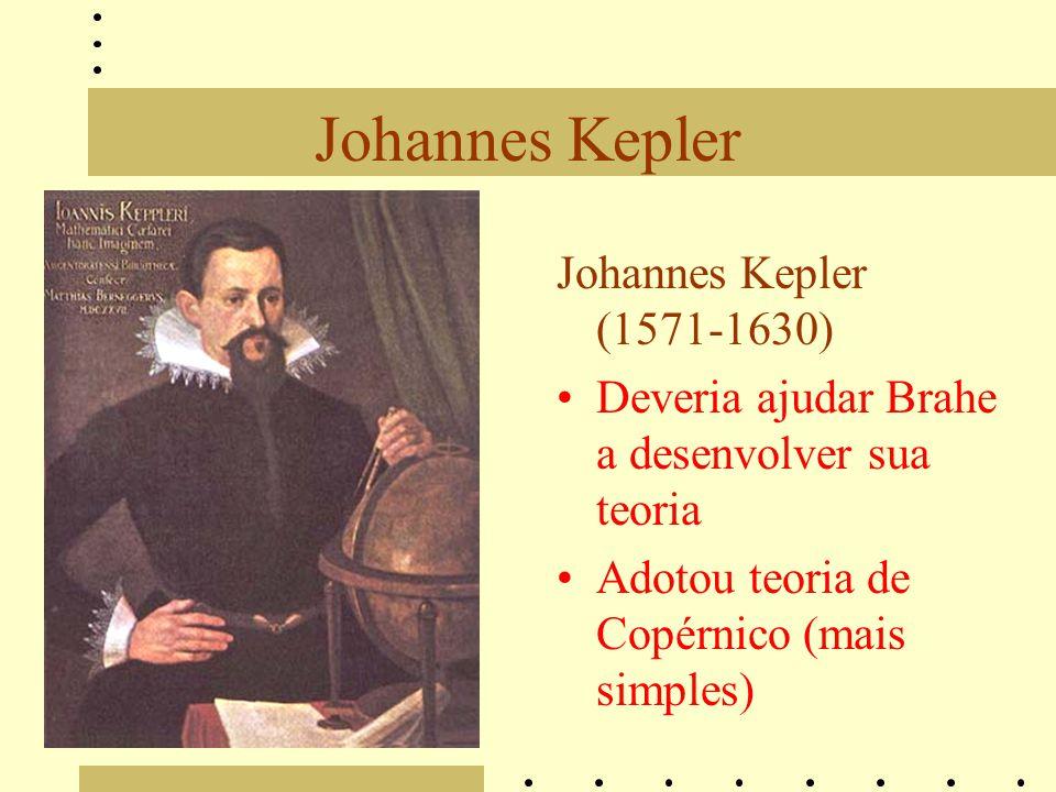Johannes Kepler Johannes Kepler (1571-1630) Deveria ajudar Brahe a desenvolver sua teoria Adotou teoria de Copérnico (mais simples)