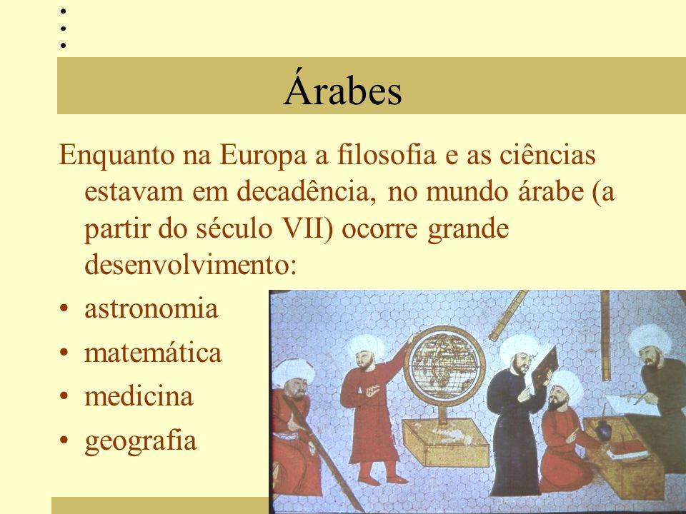 Árabes Enquanto na Europa a filosofia e as ciências estavam em decadência, no mundo árabe (a partir do século VII) ocorre grande desenvolvimento: astronomia matemática medicina geografia