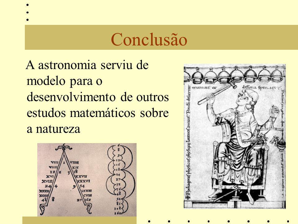 Conclusão A astronomia serviu de modelo para o desenvolvimento de outros estudos matemáticos sobre a natureza