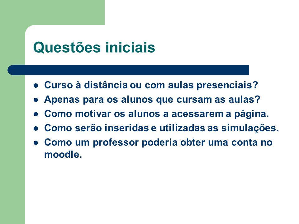 Questões iniciais Curso à distância ou com aulas presenciais? Apenas para os alunos que cursam as aulas? Como motivar os alunos a acessarem a página.