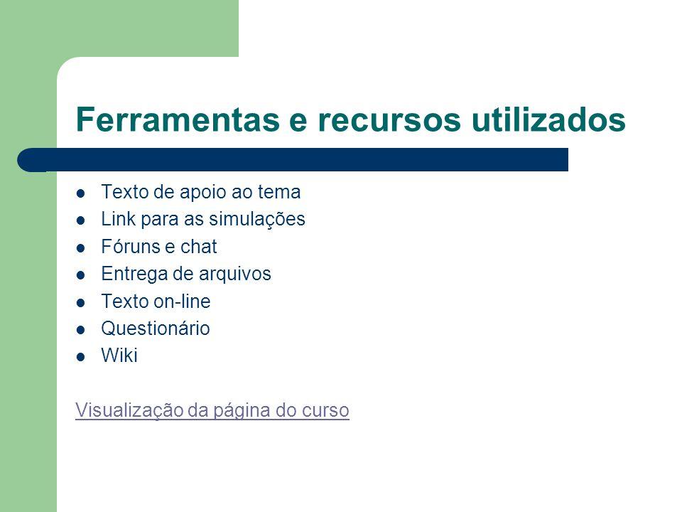 Ferramentas e recursos utilizados Texto de apoio ao tema Link para as simulações Fóruns e chat Entrega de arquivos Texto on-line Questionário Wiki Vis