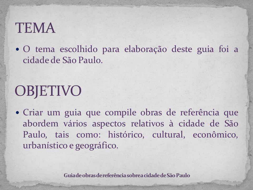 O tema escolhido para elaboração deste guia foi a cidade de São Paulo. Criar um guia que compile obras de referência que abordem vários aspectos relat