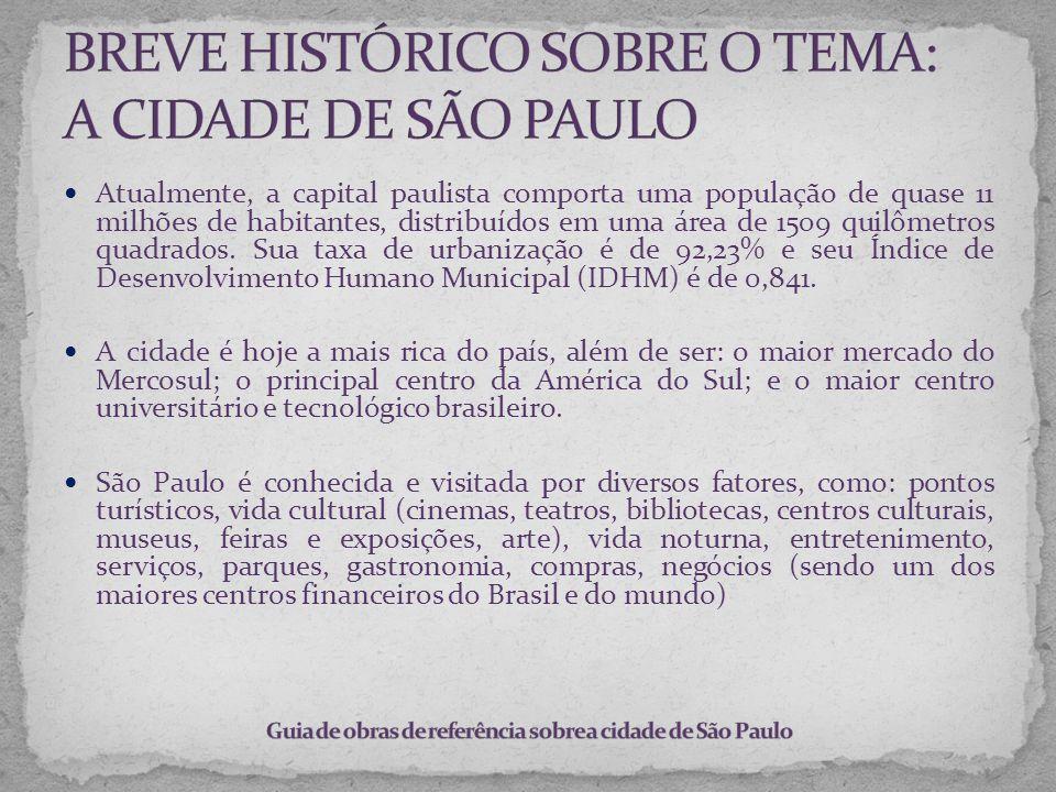 Atualmente, a capital paulista comporta uma população de quase 11 milhões de habitantes, distribuídos em uma área de 1509 quilômetros quadrados. Sua t