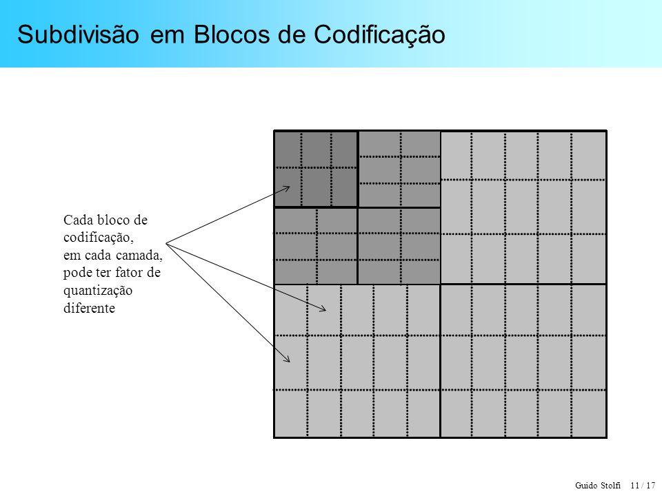 Guido Stolfi 11 / 17 Subdivisão em Blocos de Codificação Cada bloco de codificação, em cada camada, pode ter fator de quantização diferente