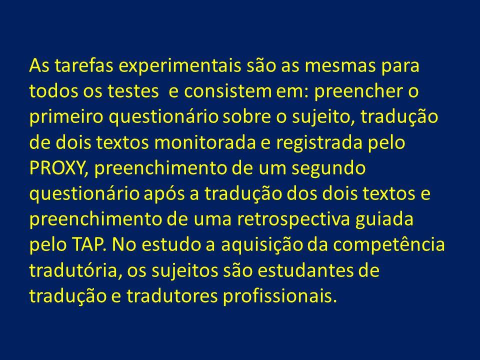 As tarefas experimentais são as mesmas para todos os testes e consistem em: preencher o primeiro questionário sobre o sujeito, tradução de dois textos