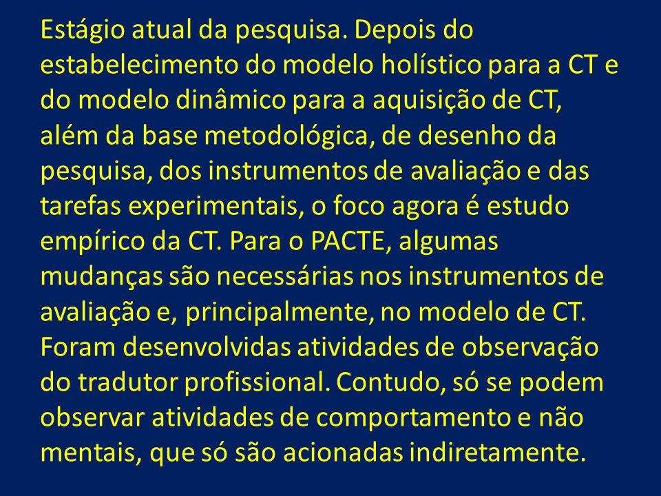 Estágio atual da pesquisa. Depois do estabelecimento do modelo holístico para a CT e do modelo dinâmico para a aquisição de CT, além da base metodológ