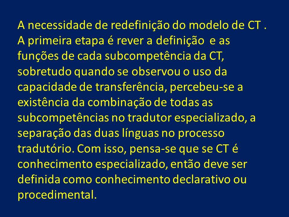 A necessidade de redefinição do modelo de CT. A primeira etapa é rever a definição e as funções de cada subcompetência da CT, sobretudo quando se obse