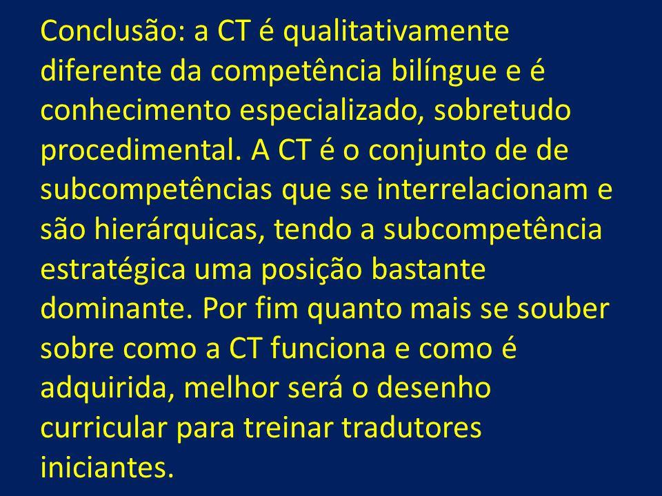 Conclusão: a CT é qualitativamente diferente da competência bilíngue e é conhecimento especializado, sobretudo procedimental. A CT é o conjunto de de