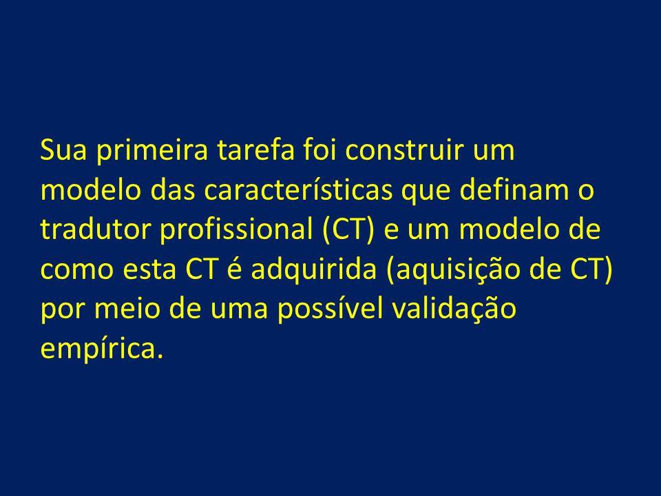 Sua primeira tarefa foi construir um modelo das características que definam o tradutor profissional (CT) e um modelo de como esta CT é adquirida (aqui