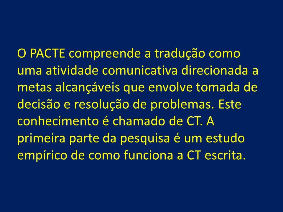 O PACTE compreende a tradução como uma atividade comunicativa direcionada a metas alcançáveis que envolve tomada de decisão e resolução de problemas.