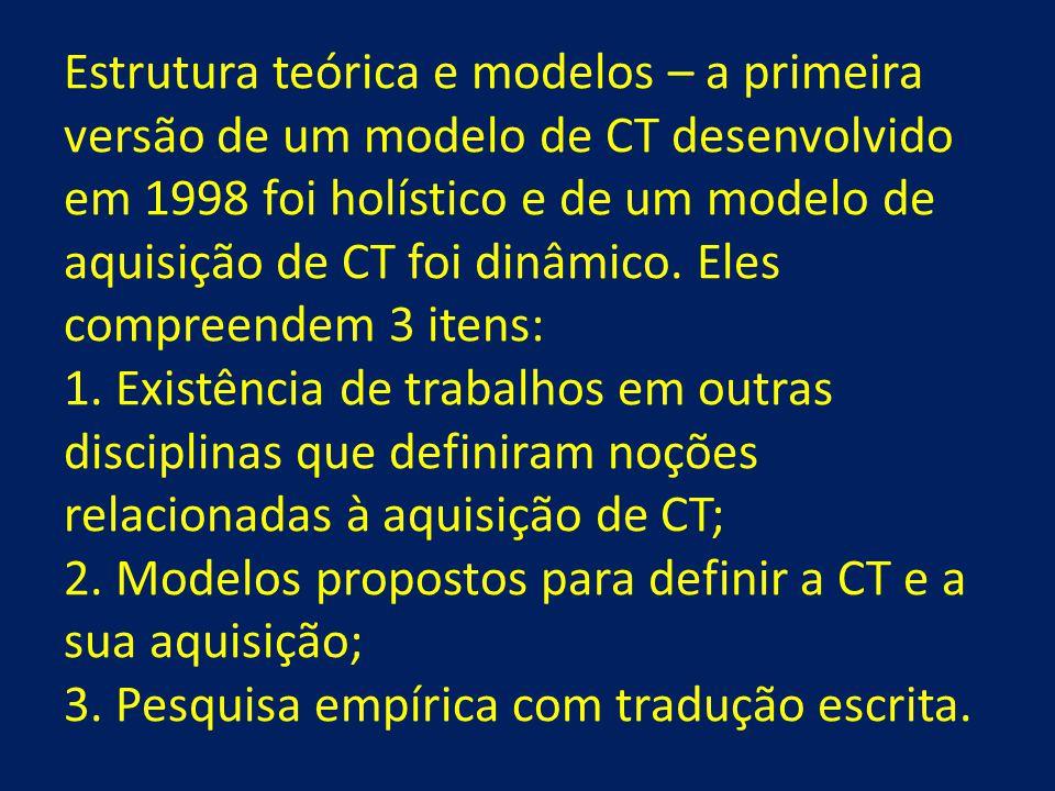 Estrutura teórica e modelos – a primeira versão de um modelo de CT desenvolvido em 1998 foi holístico e de um modelo de aquisição de CT foi dinâmico.