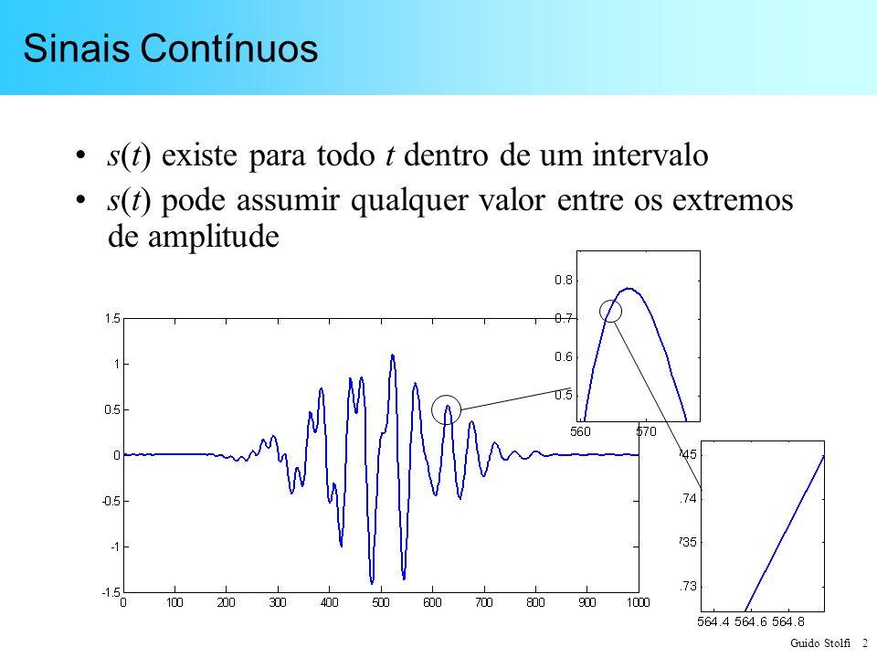 Guido Stolfi 33 Critérios para taxa de Amostragem Critério de Nyquist: – f A 2f M (filtro de reconstrução ideal) Critério de Kell: – f A 3f M (aproximado – filtro não ideal)