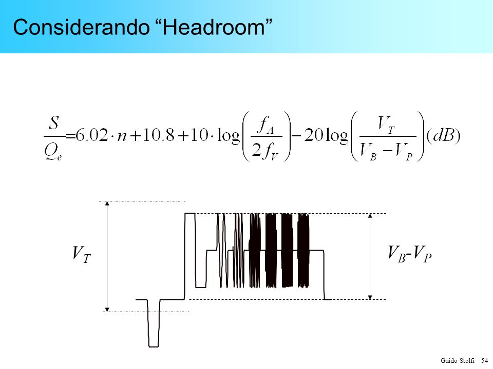 Guido Stolfi 54 Considerando Headroom V B -V P VTVT