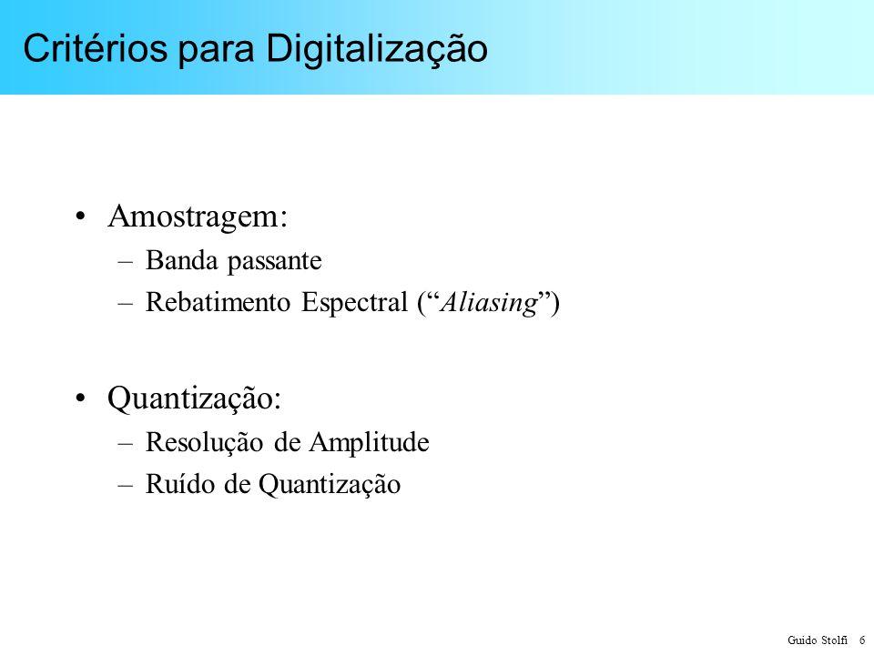 Guido Stolfi 37 Exemplos de Sistemas Amostrados Telefonia: –f M = 3,4 kHz –f A = 8 kHz f A / f M = 2,35