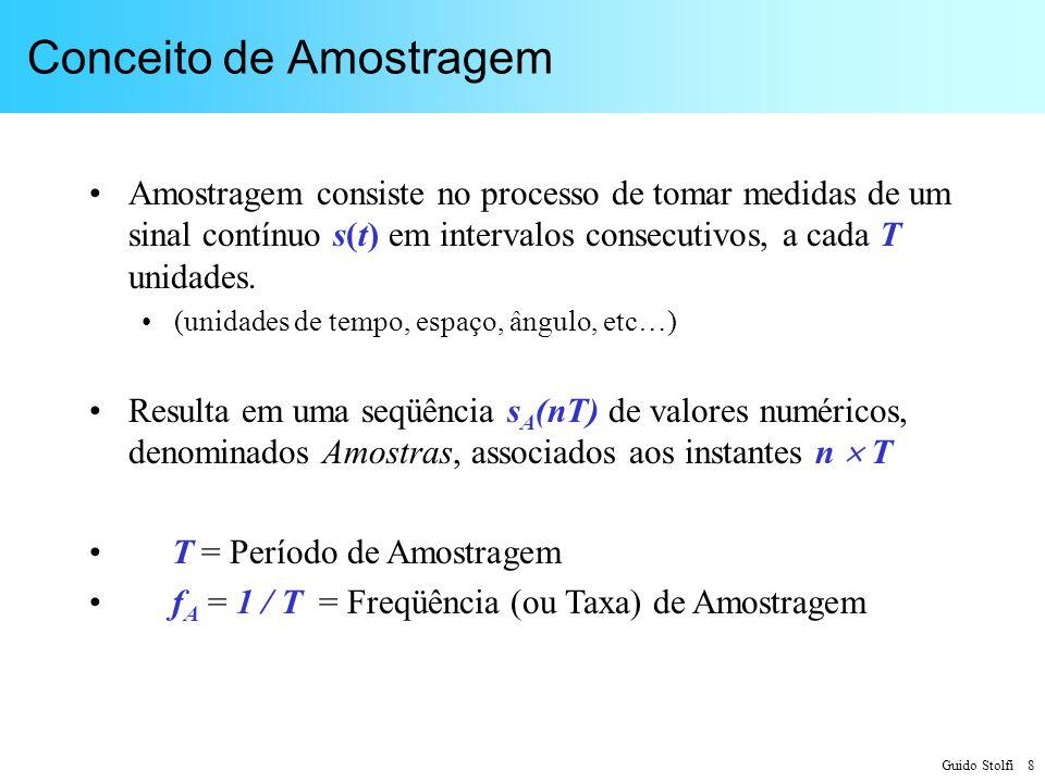 Guido Stolfi 39 Exemplos de Sistemas Amostrados Miografia (potencial muscular): –f M = 2 kHz –f A = 200 Hz f A / f M = 0,1