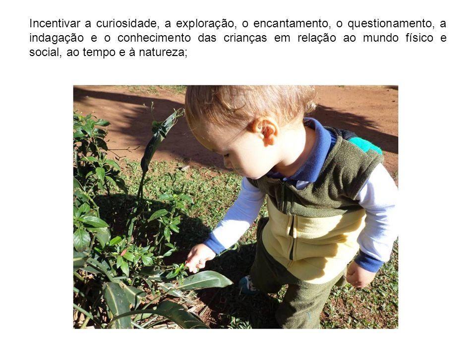 Incentivar a curiosidade, a exploração, o encantamento, o questionamento, a indagação e o conhecimento das crianças em relação ao mundo físico e socia