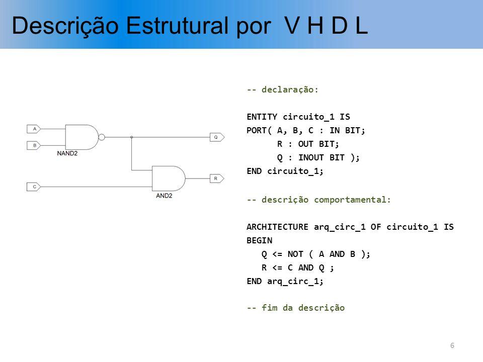 Descrição Estrutural por V H D L -- declaração: ENTITY circuito_1 IS PORT( A, B, C : IN BIT; R : OUT BIT; Q : INOUT BIT ); END circuito_1; -- descriçã
