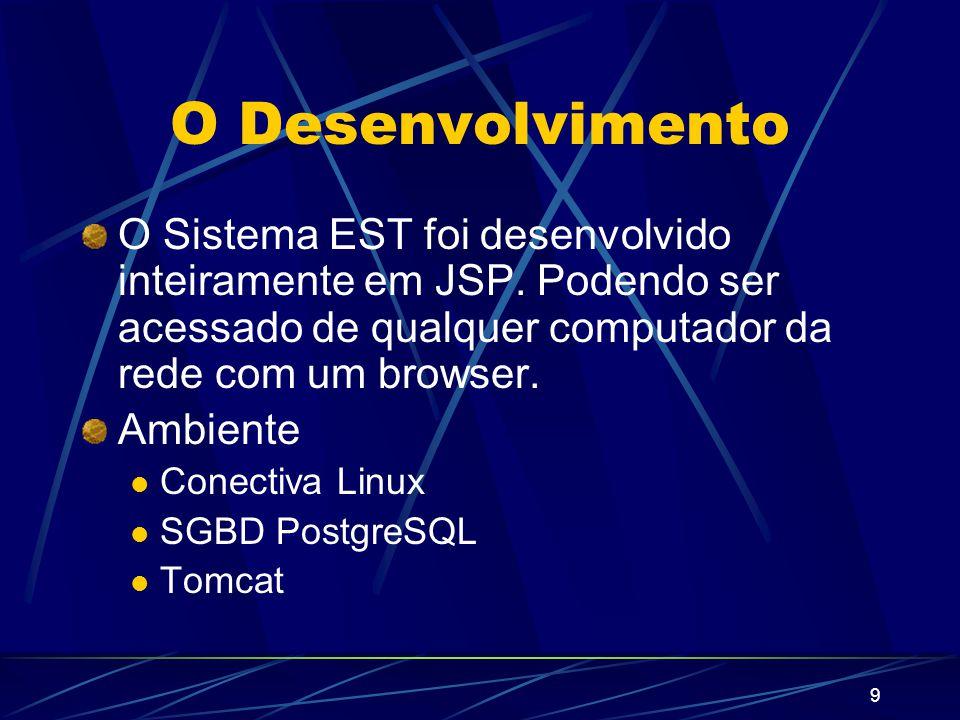 9 O Desenvolvimento O Sistema EST foi desenvolvido inteiramente em JSP.