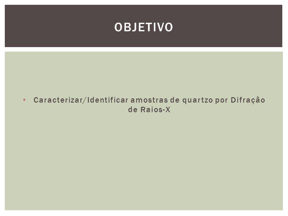 Caracterizar/Identificar amostras de quartzo por Difração de Raios-X OBJETIVO