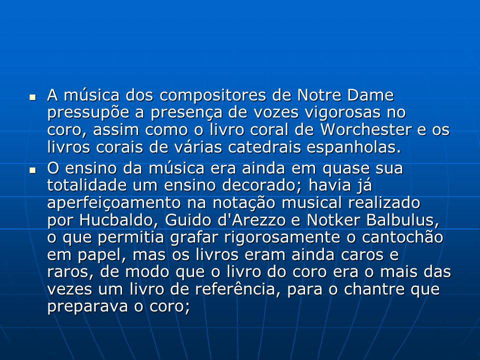 A música dos compositores de Notre Dame pressupõe a presença de vozes vigorosas no coro, assim como o livro coral de Worchester e os livros corais de várias catedrais espanholas.