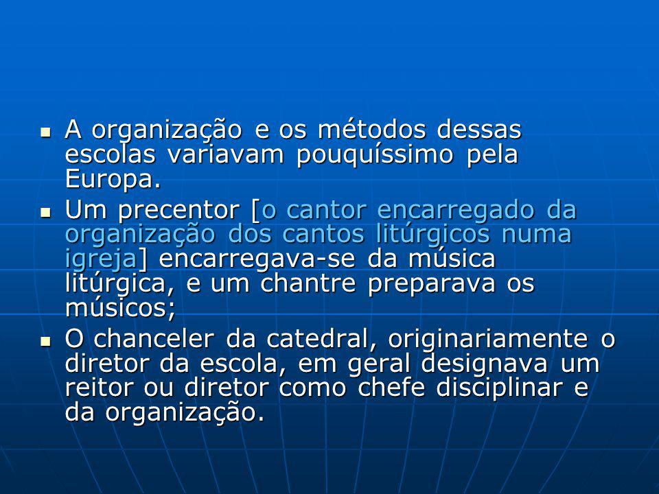 A organização e os métodos dessas escolas variavam pouquíssimo pela Europa.