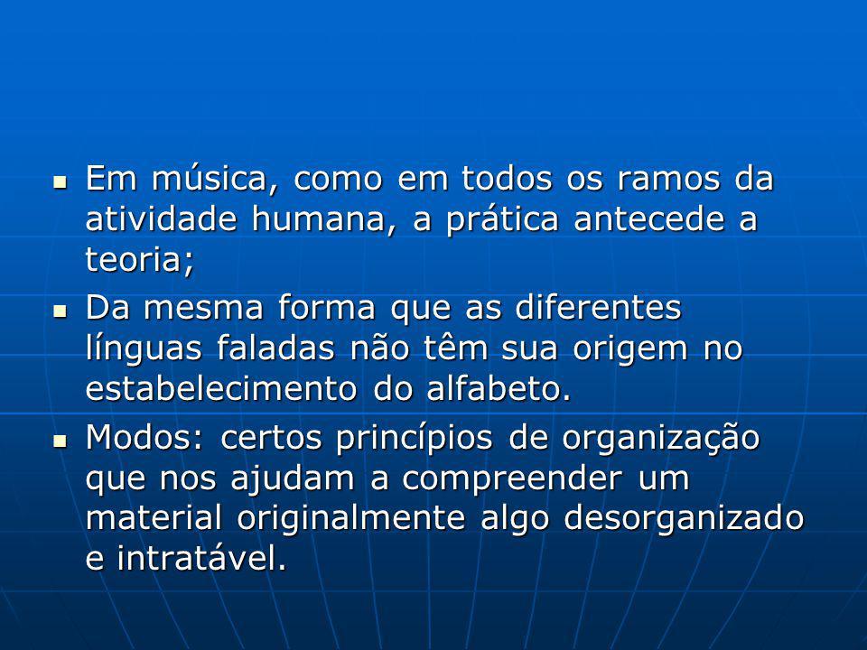 Em música, como em todos os ramos da atividade humana, a prática antecede a teoria; Em música, como em todos os ramos da atividade humana, a prática antecede a teoria; Da mesma forma que as diferentes línguas faladas não têm sua origem no estabelecimento do alfabeto.