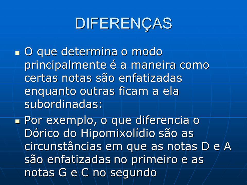 DIFERENÇAS O que determina o modo principalmente é a maneira como certas notas são enfatizadas enquanto outras ficam a ela subordinadas: O que determina o modo principalmente é a maneira como certas notas são enfatizadas enquanto outras ficam a ela subordinadas: Por exemplo, o que diferencia o Dórico do Hipomixolídio são as circunstâncias em que as notas D e A são enfatizadas no primeiro e as notas G e C no segundo Por exemplo, o que diferencia o Dórico do Hipomixolídio são as circunstâncias em que as notas D e A são enfatizadas no primeiro e as notas G e C no segundo
