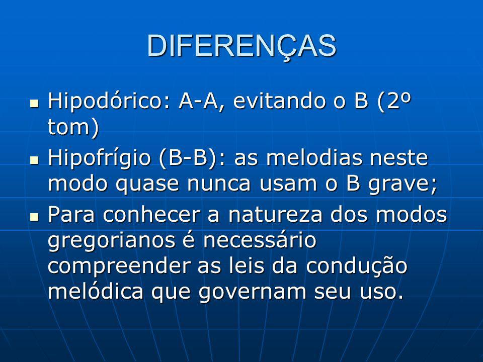 DIFERENÇAS Hipodórico: A-A, evitando o B (2º tom) Hipodórico: A-A, evitando o B (2º tom) Hipofrígio (B-B): as melodias neste modo quase nunca usam o B grave; Hipofrígio (B-B): as melodias neste modo quase nunca usam o B grave; Para conhecer a natureza dos modos gregorianos é necessário compreender as leis da condução melódica que governam seu uso.
