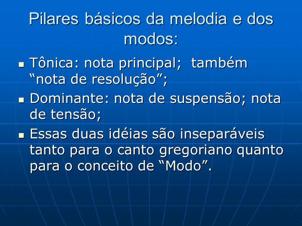 Pilares básicos da melodia e dos modos: Tônica: nota principal; também nota de resolução; Tônica: nota principal; também nota de resolução; Dominante: nota de suspensão; nota de tensão; Dominante: nota de suspensão; nota de tensão; Essas duas idéias são inseparáveis tanto para o canto gregoriano quanto para o conceito de Modo.