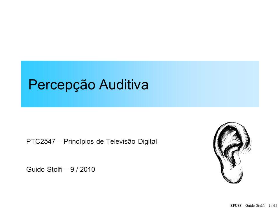 EPUSP - Guido Stolfi 32 / 65 Nível Sonoro: Unidade de Medida Volume Sonoro = grandeza subjetiva associada à percepção sensorial da intensidade de um som 1 Phon = 1 dB SPL @ 1 kHz