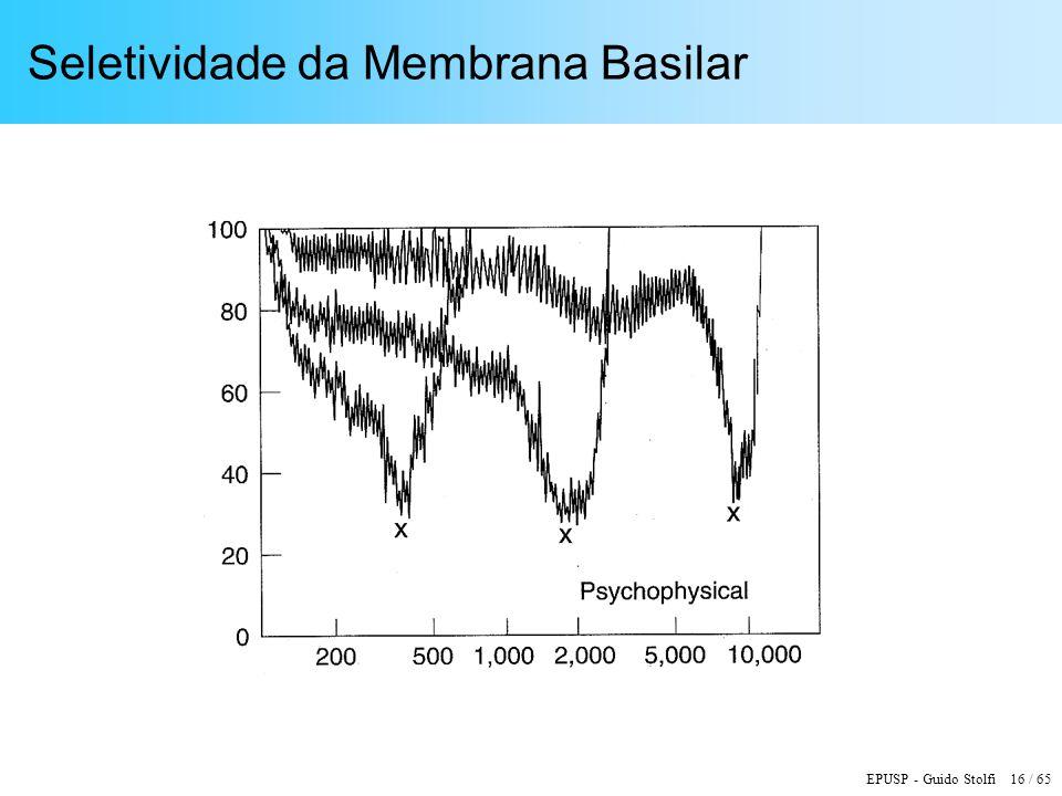 EPUSP - Guido Stolfi 16 / 65 Seletividade da Membrana Basilar