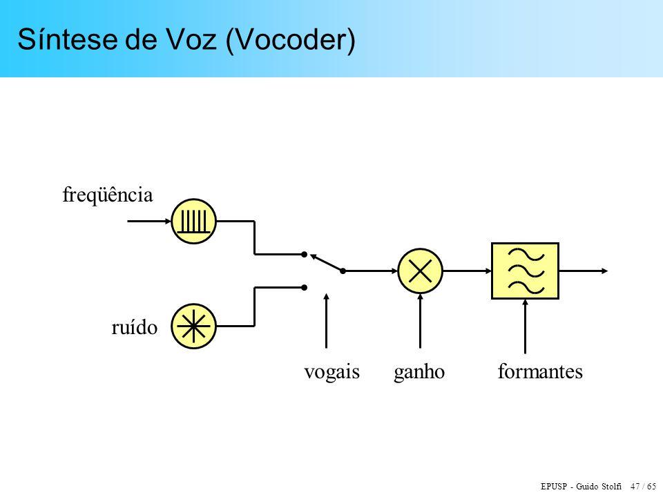 EPUSP - Guido Stolfi 47 / 65 Síntese de Voz (Vocoder) freqüência ganho ruído formantesvogais