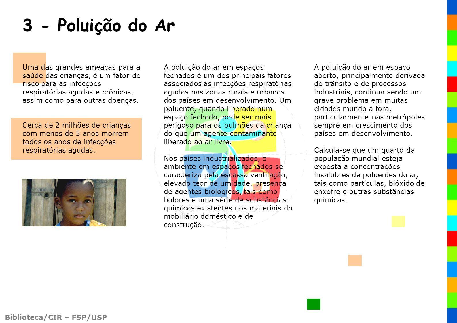 Biblioteca/CIR – FSP/USP 3 - Poluição do Ar Uma das grandes ameaças para a saúde das crianças, é um fator de risco para as infecções respiratórias agu