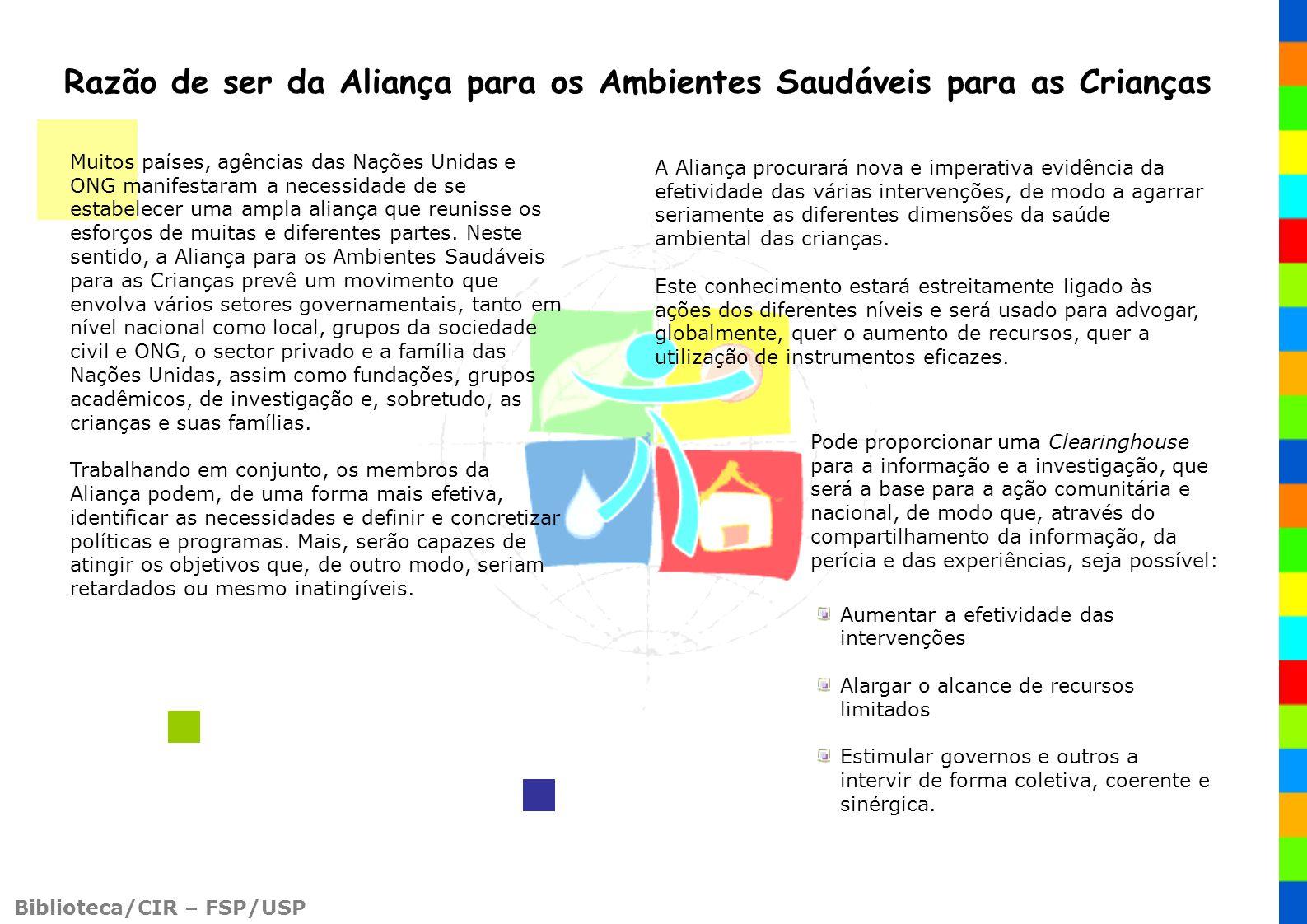 Biblioteca/CIR – FSP/USP Muitos países, agências das Nações Unidas e ONG manifestaram a necessidade de se estabelecer uma ampla aliança que reunisse o