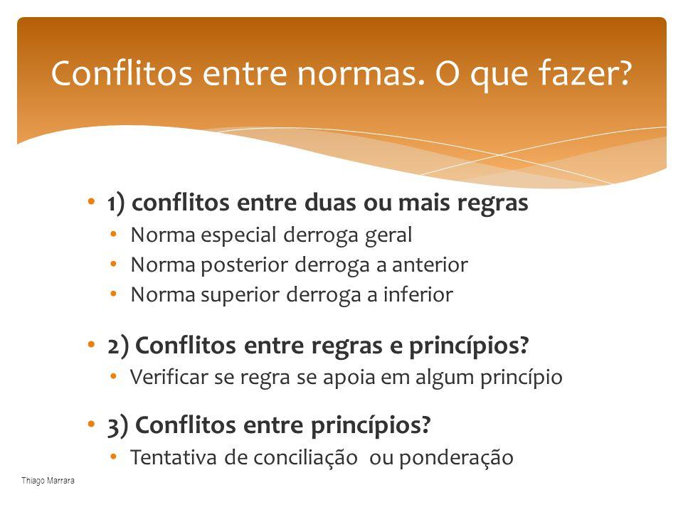 1) conflitos entre duas ou mais regras Norma especial derroga geral Norma posterior derroga a anterior Norma superior derroga a inferior 2) Conflitos