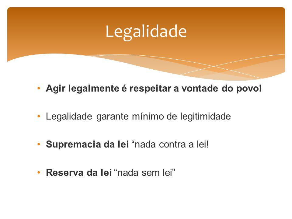 Agir legalmente é respeitar a vontade do povo! Legalidade garante mínimo de legitimidade Supremacia da lei nada contra a lei! Reserva da lei nada sem