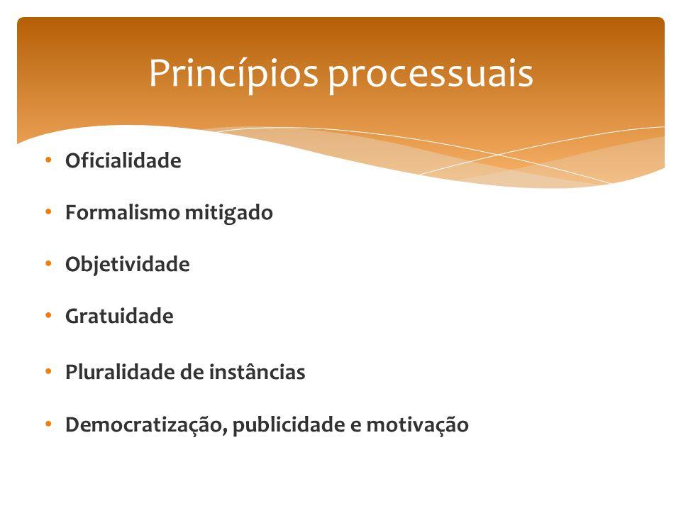 Oficialidade Formalismo mitigado Objetividade Gratuidade Pluralidade de instâncias Democratização, publicidade e motivação Princípios processuais
