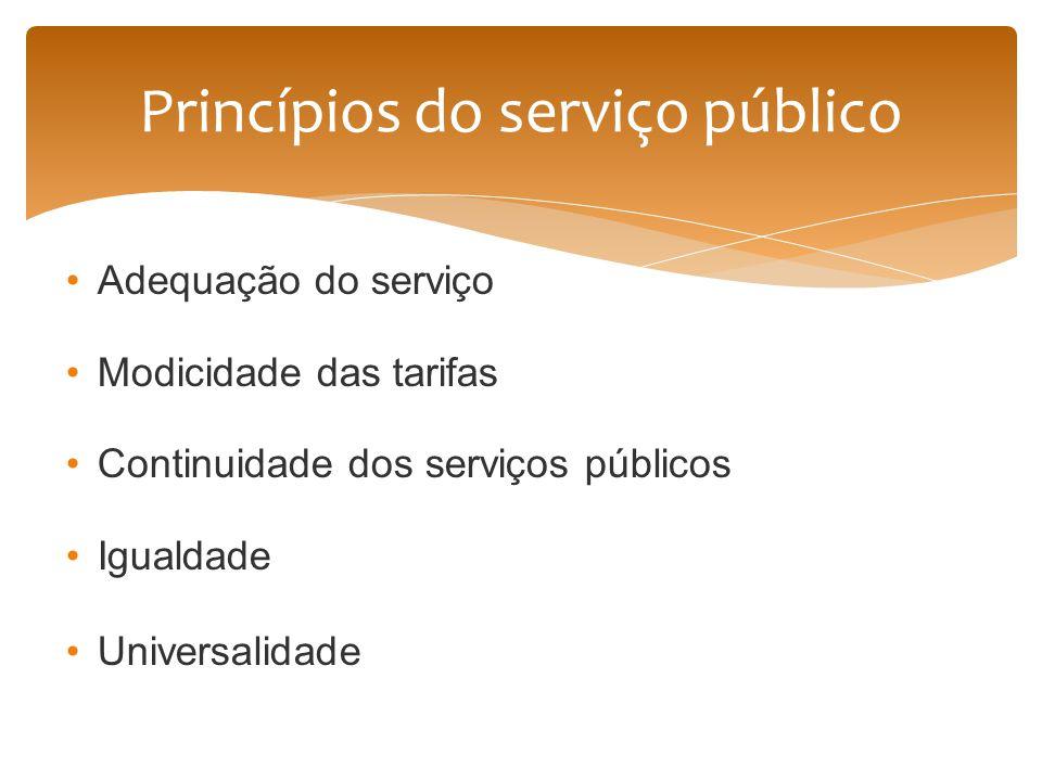 Adequação do serviço Modicidade das tarifas Continuidade dos serviços públicos Igualdade Universalidade Princípios do serviço público