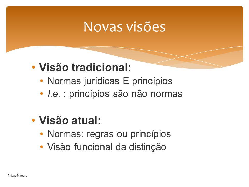 Visão tradicional: Normas jurídicas E princípios I.e. : princípios são não normas Visão atual: Normas: regras ou princípios Visão funcional da distinç