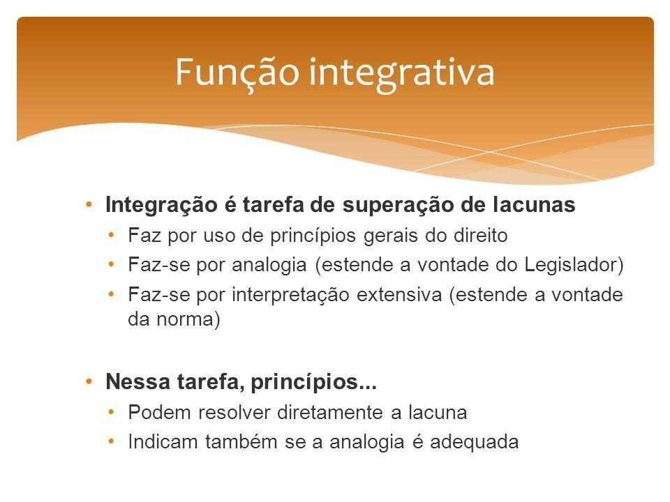 Integração é tarefa de superação de lacunas Faz por uso de princípios gerais do direito Faz-se por analogia (estende a vontade do Legislador) Faz-se p