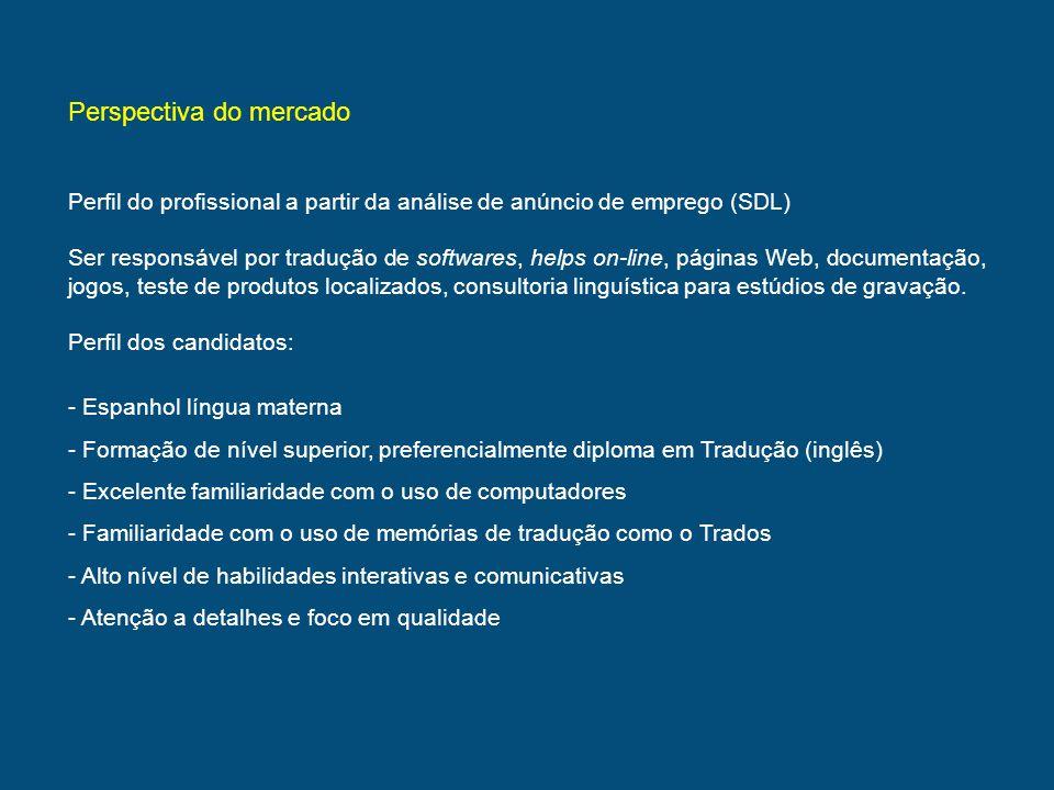 Perspectiva do mercado Perfil do profissional a partir da análise de anúncio de emprego (SDL) Ser responsável por tradução de softwares, helps on-line