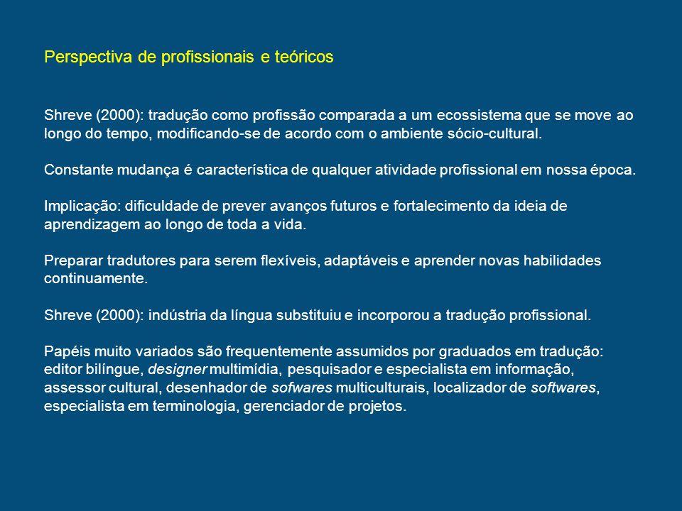Perspectiva de profissionais e teóricos Shreve (2000): tradução como profissão comparada a um ecossistema que se move ao longo do tempo, modificando-s