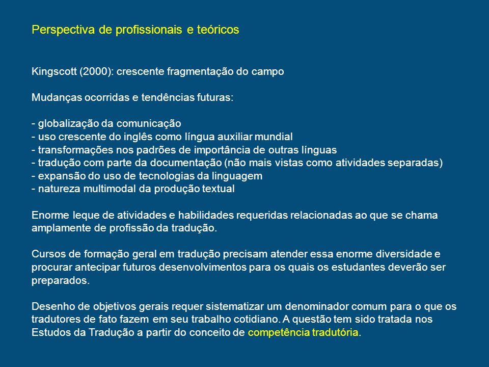 Considerações acadêmicas Sumário do que alguns autores disseram sobre a competência tradutória.