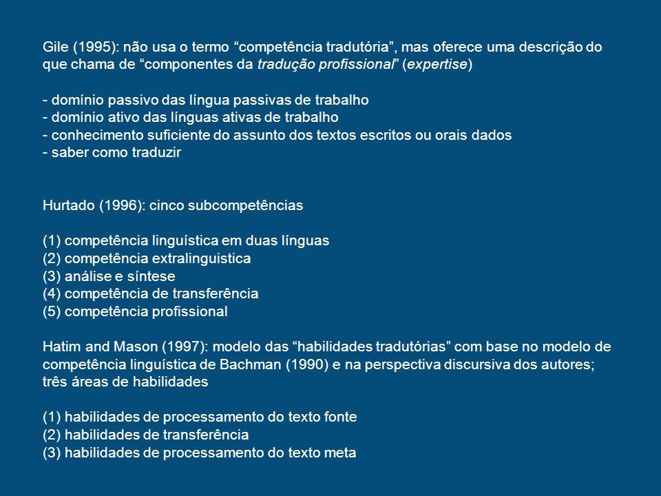 Campbell (1998): modelo baseado em três competências (1)Competência textual na língua meta (2)Disposição (3)Competência de monitoramento Quatro princípios básicos relacionados com modelos de competência tradutória: -A competência tradutória pode ser separada em componentes relativamente independentes, que podem ser usados como tijolos no desenho curricular -A educação em tradução pode ser vista em termos de intervenção no desenvolvimento dos vários componentes da competência tradutória.