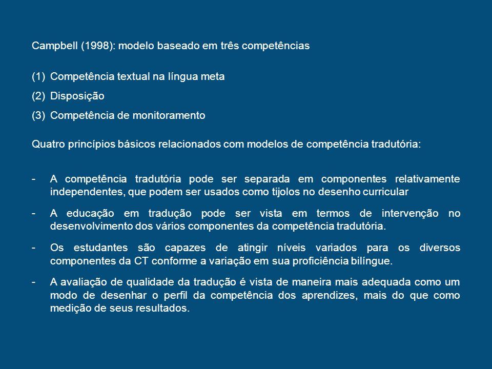 Neubert (2000) propõe a seguinte classificação aproximada (1)Competência linguística (2)Competência textual (3)Competência em área de conhecimento específico (4)Competência cultural Sugere que as competências estão inter-relacionadas e que a competência global se caracteriza por sua complexidade, heterogeneidade, aproximação, abertura, criatividade, situacionalidade e historicidade.