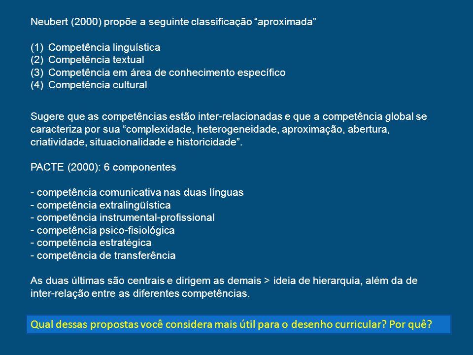 Neubert (2000) propõe a seguinte classificação aproximada (1)Competência linguística (2)Competência textual (3)Competência em área de conhecimento esp
