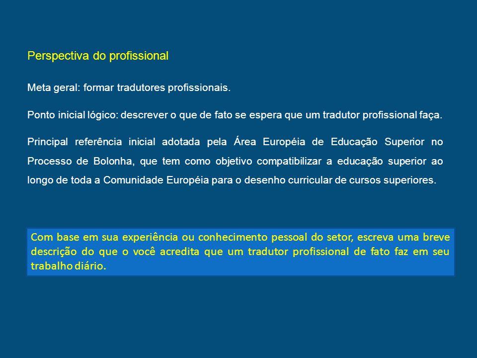 Perspectiva do profissional Meta geral: formar tradutores profissionais. Ponto inicial lógico: descrever o que de fato se espera que um tradutor profi